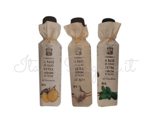 tris lemon garlic basil 500x371 - Tris flavoured extra virgin olive oil: lemon, garlic, basil - 3 bottles x 100 ml