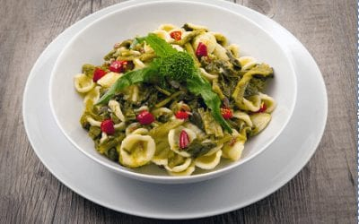 Orecchiette Pasta with turnip peaks and chili peppers