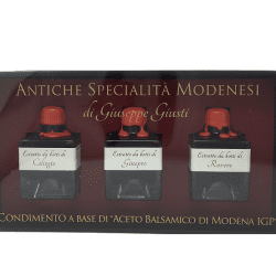 giusti tris 250x250 - Tris of flavored Balsamic Vinegar: Cherry wood, Juniper, Oak - 3 x 50 ml
