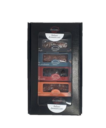 4 Flavored Italian Salami Gift Box: truffle, Bonarda red Wine, hot Paprika and Pepper