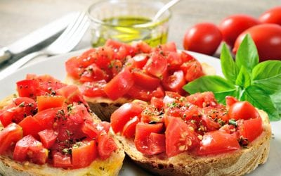 "The Mediterranean ""Super Food"": bread, olive oil and tomato"